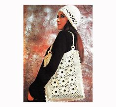 Tote Bag and Sunhat Vintage Crochet Pattern by oldschoolwoolens