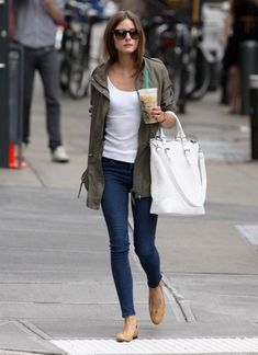 Olivia Palermo and an olive green jacket