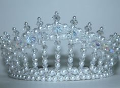 Novias cristal AB y perla Diva Tiara, Tiara de la princesa, Tiara, Tiara de cumpleaños, Tiara de la reina de la belleza