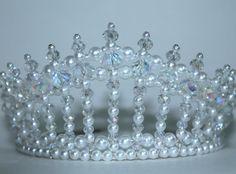Crystal AB and Pearl Diva Tiara, Princess Tiara, bridal Tiara, Birthday Tiara, Beauty Queen Tiara