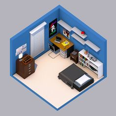 An isometric version of my RL bedroom:) made in cinema P. I'll get back to drawing sooner or later. by drawntodan Isometric Art, Isometric Design, Cartoon House, Bedroom Setup, Game Room Decor, Man Room, Cinema 4d, Simple House, Home Living Room