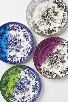 Dipped Toile Dessert Plates #anthropologie. Love These. They remind me of Mom's but then I love the added pop of color. makes me want to redo the whole kitchen.