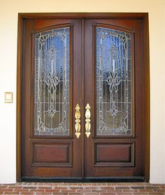 These custom Estate mahogany double doors feature custom leaded and beveled glass in each door. These mahogany doors were custom built for our customer. Double Front Entry Doors, Entry Doors With Glass, Wood Entry Doors, Modern Front Door, Exterior Front Doors, Front Door Design, Glass Front Door, Etched Glass Windows, Beautiful Front Doors