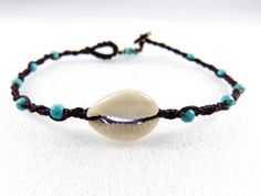 Anklet Thai Cowry Shell Turquoise Micro Macrame by ValaddaJewelry