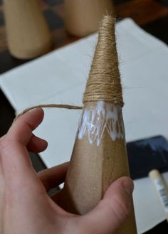 "This is so easy & looks so good! (Though I painted the ""trunk"" silvery)  DIY jute wrapped cone Christmas trees!"