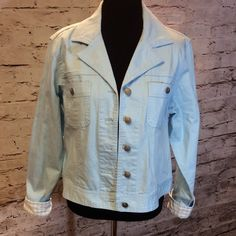 SZ LG BILL BLASS BABY BLUE DENIM JACKET Very pretty jacket with coordinating check trim. Like new condition Bill Blass Jackets & Coats Jean Jackets