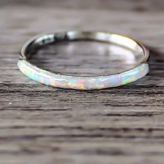 Opal Ring Sterling Silver and Opal Ring Made with synthetic Opal Part of our 'Mermaid' Collection