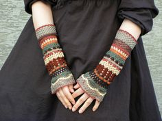 Total Colorization: Earth Tones - crocheted open work lacy wrist warmers cuffs hippie boho style