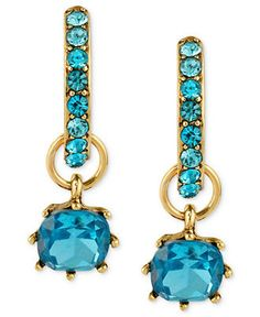 Betsey Johnson Earrings, Antique Gold-Tone Blue Glass Drop Hoop Earrings - Impulse Jewelry - Jewelry & Watches - Macy's