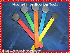 Clever idea for kids to discover what is magnetic. Little Miss Hypothesis - Lessons from the Science Lab: Magnet Mania.