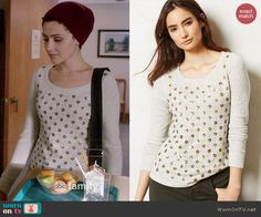April's grey sequin dotted sweater on Chasing Life. Outfit Details: http://wornontv.net/44740/ #ChasingLife
