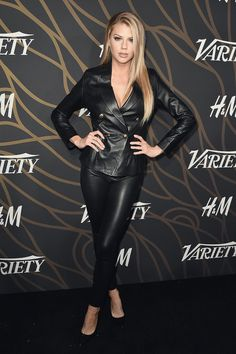 Charlotte McKinney attends Variety Power of Young wearing black leather pants and double breasted leather jacket Leather Jacket Outfits, Black Leather Pants, Leather Dresses, Pantalon Vinyl, Lederhosen Outfit, Leder Outfits, Leather Fashion, Leggings Are Not Pants, Sexy Women