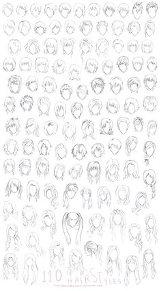 Hair Styles Sheet Styles) by theworldisbehindus on DeviantArt styles anime Character Hair Reference Sheet by GabrielleBrickey on DeviantArt Anime Character Drawing, Manga Drawing, Drawing Techniques, Drawing Tips, Pelo Anime, Cartoon Hair, Hair Sketch, Different Art Styles, Anime Drawings Sketches