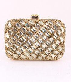Gold and Rhinestone evening clutch handbag purse Art Deco vintage inspired old Hollywood. $90.00, via Etsy.