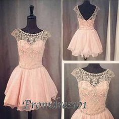 #promdress01 prom dresses - 2015 cute open back cap sleeve pink chiffon beaded short prom dress for teens, vintage ball gown, homecoming dress