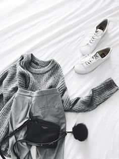 {Grey on grey with white sneakers.}