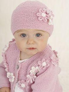 baby knitting pattern rosie posie flowers  long short sleeve cardigan hat headbanks  birth to 2 yearsdk wool