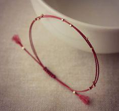 Minimalist Friendship Bracelet with Small Gold Beads