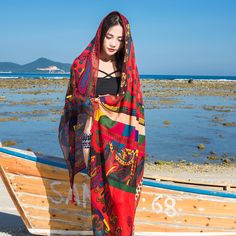c93734e8ef83c Women Summer Sunshade Silk Beach Scarf Multi-function Plus Size Shawl  Swimsuit Cover Up Vacation