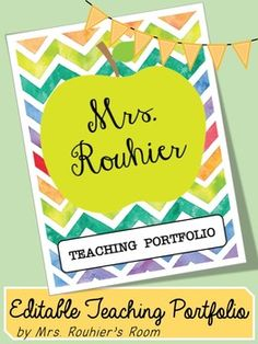 EDITABLE Teaching Portfolio Template (multicolor) | Pinterest ...