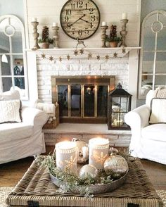 cottage style living room decorated for winter