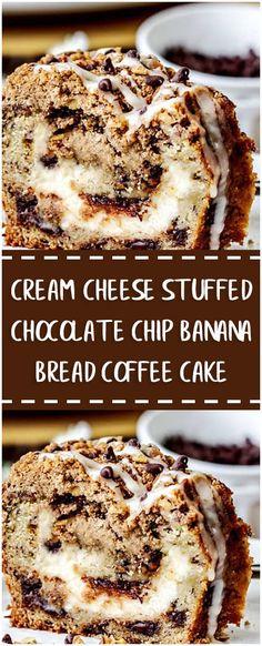 CREAM CHEESE STUFFED CHOCOLATE CHIP BANANA BREAD COFFEE CAKE #cream_cheese_stuffed #chocolate #ship #banana #bread #coffee #cake #whole30 #foodlover #homecooking #cooking #cookingtips