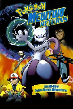 In this direct-to-video sequel to Pokémon: The First Movie, Ash, Misty, and Brock continue exploring the Johto region, then have to rescue Pikachu. Pokemon Mewtwo, Pikachu, Watch Free Full Movies, Movies To Watch, 2000 Cartoons, Pokemon Movies, Tv Shows Online, Best Sites, Streaming Movies