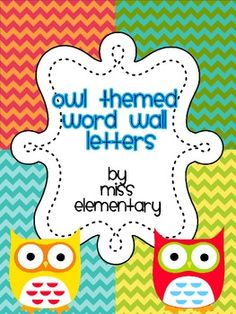 Owl Themed Word Wall Letters for your classroom. Includes: letters word wall title headers Can be matched with my Owl Themed Classroom Labels, Schedule Cards and Nameplates. Owl Theme Classroom, Classroom Labels, Classroom Crafts, Kindergarten Classroom, Future Classroom, School Classroom, Classroom Activities, Classroom Ideas, Word Wall Letters