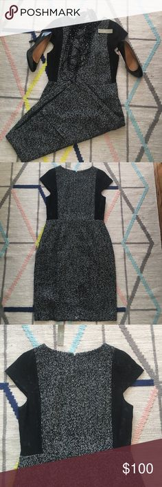 NWT lace and tweed sheath dress Gorgeous NWT black and white tweed sheath with lace inserts at sides. Fully lined. Heavyweight wool/poly combo perfect for winter. Back zipper and hook and eye close. Pair with heels and a necklace (items in first photo available in other postings - bundle and save!) for the office or a holiday party. Very slimming and flattering. J. Crew Dresses