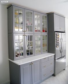 Stacked two regular height ikea upper cabinets to make a storage 'hutch,' like how well it goes with the fridge around refrigerator pantries Brooklyn Kitchen and Bathroom Renovation Diy Kitchen Storage, Kitchen Redo, New Kitchen, Kitchen Ideas, Kitchen Hutch, Pantry Ideas, Green Kitchen, Grey Ikea Kitchen, Ikea Kitchen Remodel
