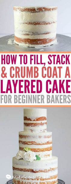 How to fill, stack and crumb coat a layered cake. Tutorial for beginners!