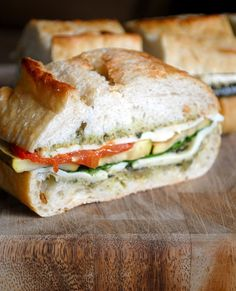 Roasted Vegetable and Pesto Sandwich- Great for a picnic | Fat Girl Trapped in a Skinny Body