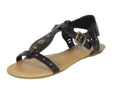 Jorca By City Classified Open Toe TStrap Cut Out Studded Strappy Flat Sandal black leatherette 85 M * Check out the image by visiting the link.(This is an Amazon affiliate link and I receive a commission for the sales) #WomensFlatsSandals