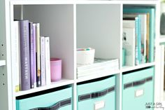 Home Office Reveal at JustAGirlAndHerBlog.com Staples for providing the bookshelves and cube unit for this part of the makeover. ClosetMaid-Cubeicals-6-Cube-Storage-Organizer-White