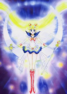 "Super Sailor Moon (Usagi Tsukino) from ""Sailor Moon"" series by manga artist Naoko Takeuchi. This pose was inspired by ""Satan In His Original Glory by William Blake Sailor Moons, Sailor Moon Manga, Sailor Moon Crystal, Arte Sailor Moon, Studio Ghibli, Sailor Moon Personajes, Princesa Serenity, Naoko Takeuchi, Sailor Moon Wallpaper"