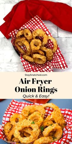 Crispy, Homemade Air Fryer Onion Rings is a quick and easy recipe prepared with a seasoned buttermilk batter, a Vidalia onion, and breadcrumbs. These fried rings are crunchy, kid-friendly, and are best served with a Bloomin' Onion dipping sauce. Cook time for frozen onions rings is included. If you are looking for a recipe with no breadcrumbs, swap for pork rinds and substitute flour for almond flour. Air Fryer Recipes Breakfast, Air Fryer Dinner Recipes, Air Fryer Oven Recipes, Onion Rings Air Fryer, Air Fryer Recipes Onion Rings, Air Fryer French Fries, Air Frier Recipes, Air Fryer Chicken Tenders, Actifry Recipes