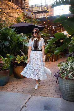 Caroline styles the Self Portrait Flower Garden lace dress for NYFW << HOUSE of HARPER