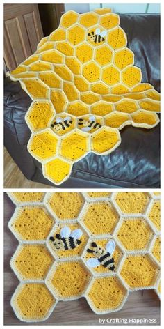 Crochet Honeycomb Baby Blanket Free Crochet Pattern Best Picture For crochet blanket patterns For Your Taste You are looking for something, and it is going. Crochet Mignon, Crochet Bee, Cute Crochet, Crochet Crafts, Yarn Crafts, Sewing Crafts, Crotchet, Crochet Sunflower, Crochet Blanket Patterns