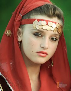 Kosovar-Albanian girl in traditional clothes