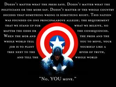 While Captain America is not my favorite character, he does say my favorite comic book quote ever! It's in Civil War: The Amazing Spiderman when Captain America explains to Spiderman what it means to be a hero. Chris Evans, Captain America Quotes, Capt America, Captain America Tattoo, Great Quotes, Inspirational Quotes, Motivational, Awesome Quotes, Living At Home