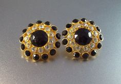 Vintage Rhinestone Earrings 1980s Designer by LynnHislopJewels