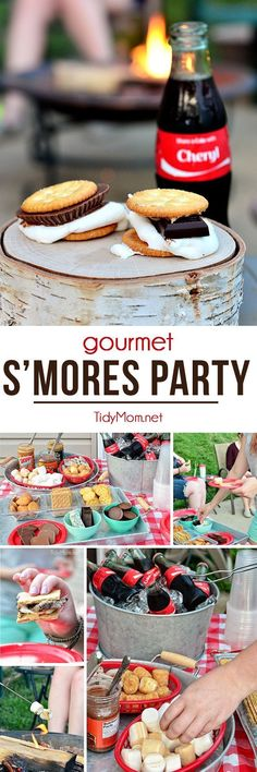 Everyone loves roasting marshmallows over a bonfire, but this time the nostalgic activity get's a fancy twist with a gourmet make-your-own s'mores party! at TidyMom.net