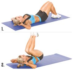 Reverse crunches are one of the top exercises to build a deep V-cut and defined LOWER ABS. Stick your hands behind your head, tighten your core, and powerfully contract your lower abs — lift your hips off the ground and pull them into your chest. Do a few sets of 20 reps and you'll build muscle in your lower stomach in no-time flat.