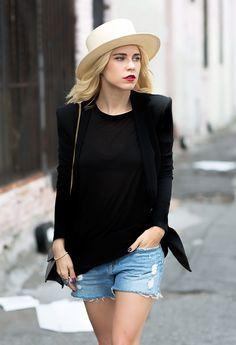 FETISH: cutoff Levi's 501 denim shorts & black blazer
