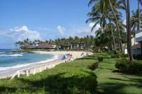 Poipu Beach, Kauai, Hawaii- this is one of my favorite vacation spots!  The beaches are pristine, and the Sheraton Hotel at Poipu Beach is heavenly.  My parents and I used to go to Poipu Beach on our Christmas vacations.  I miss it!