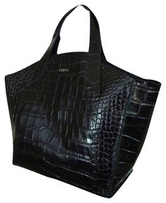 abf2fa8d534 Furla Croc Embossed Leather Small Jucca Black Tote Bag. Get one of the  hottest styles. Tradesy