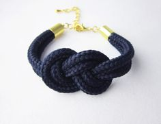 Navy Blue Sailor Knot Cord Rope Bracelet by MenoyuJewellery, £8.50