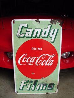 VINTAGE ORIGINAL COCA COLA CANDY FILMS PORCELAIN SIGN COKE BUTTON DRUG STORE #Coke
