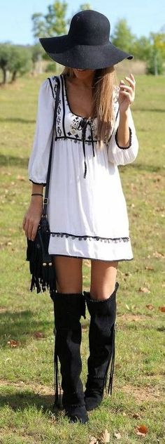 Peasant Dress + Fringe Boots #festival #style