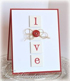handmade Valentine card ... clean and simple ... letters for LOVE on squares ... button with twine bow on the O ... graphic look ....